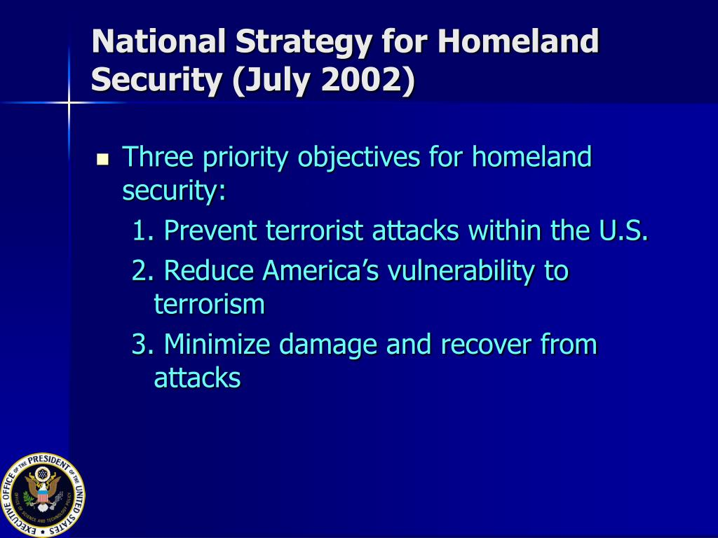 National Strategy for Homeland Security (July 2002)