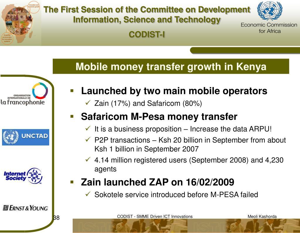 Mobile money transfer growth in Kenya