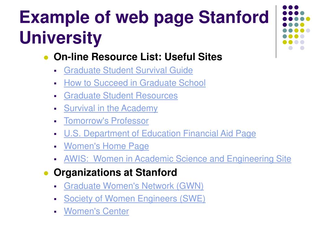 Example of web page Stanford University