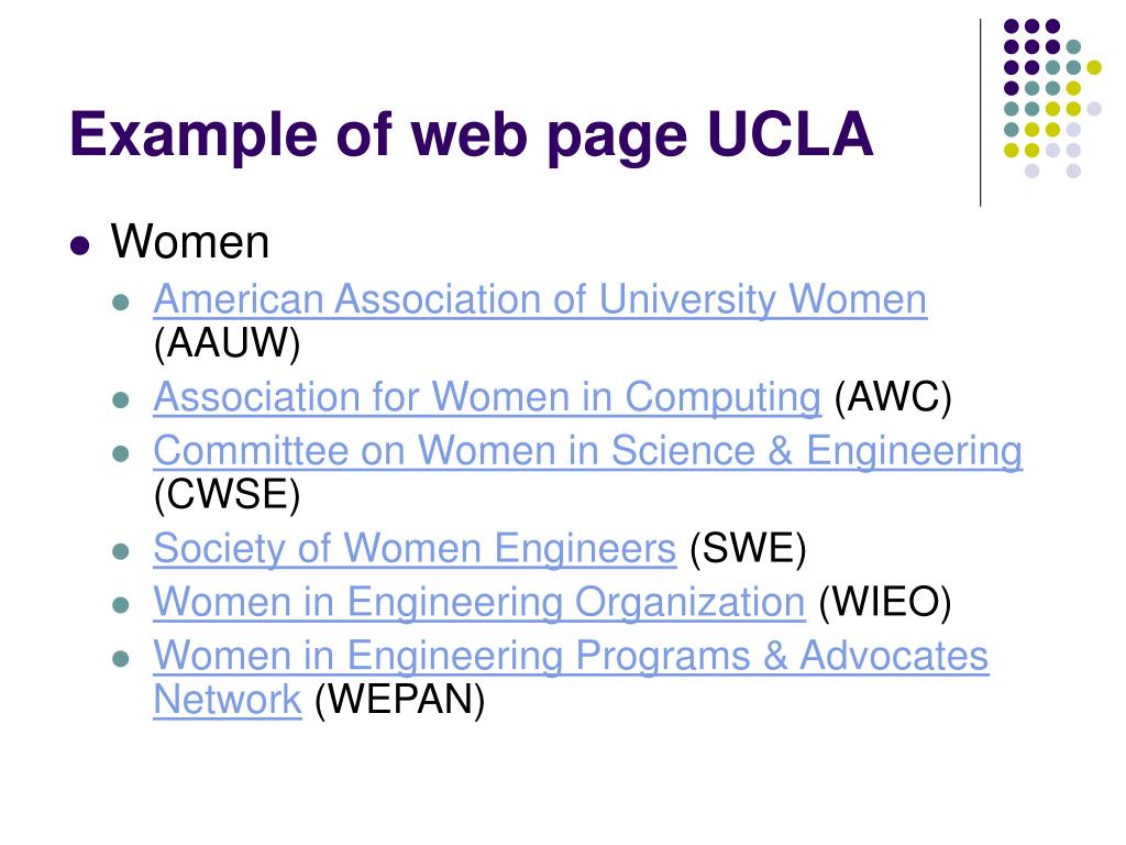 Example of web page UCLA