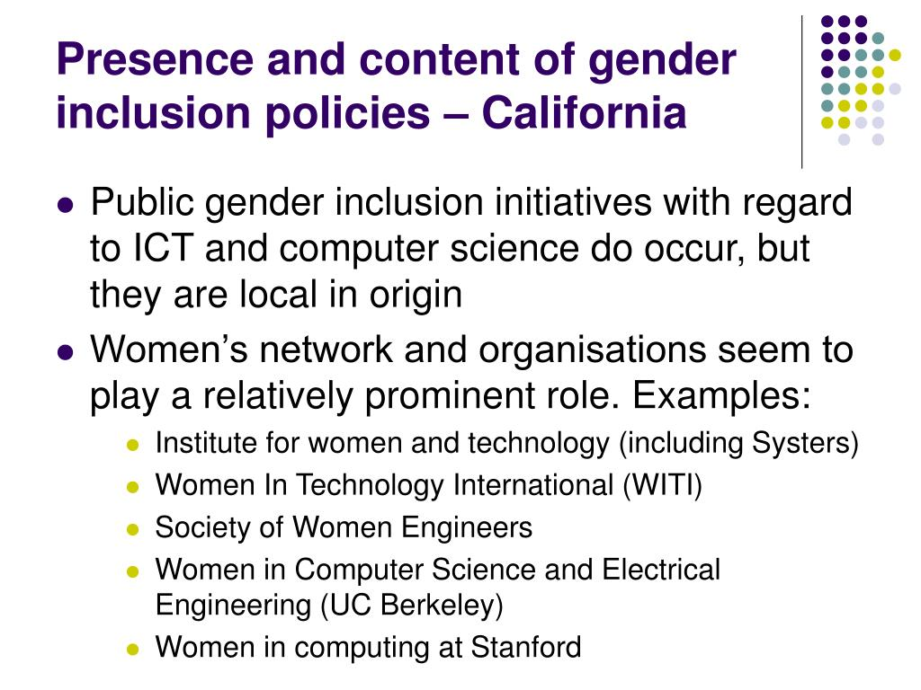 Presence and content of gender inclusion policies – California