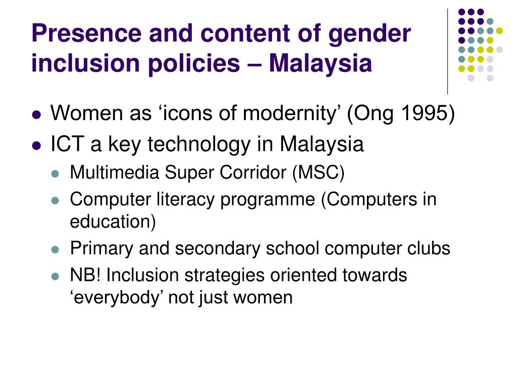 Presence and content of gender inclusion policies – Malaysia