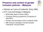 presence and content of gender inclusion policies malaysia