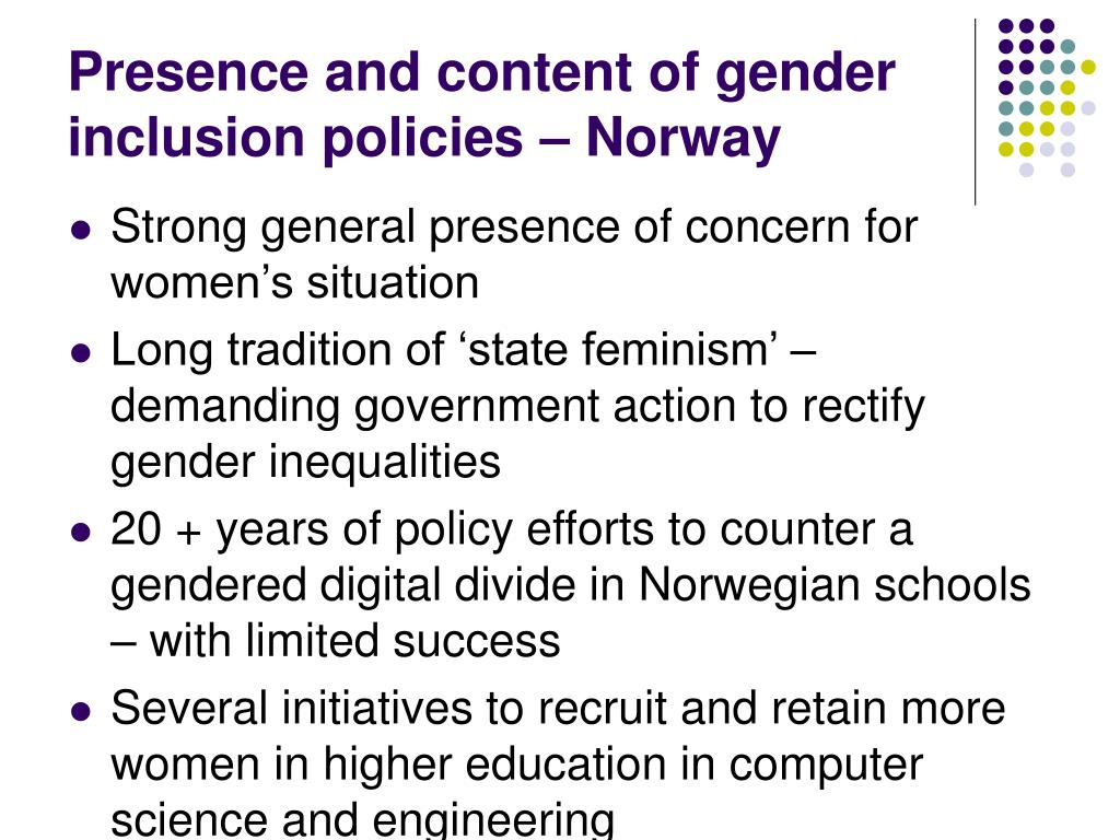 Presence and content of gender inclusion policies – Norway