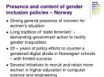 presence and content of gender inclusion policies norway