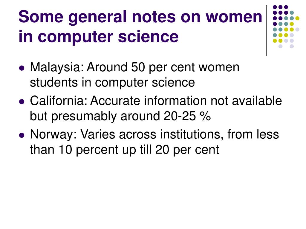 Some general notes on women in computer science