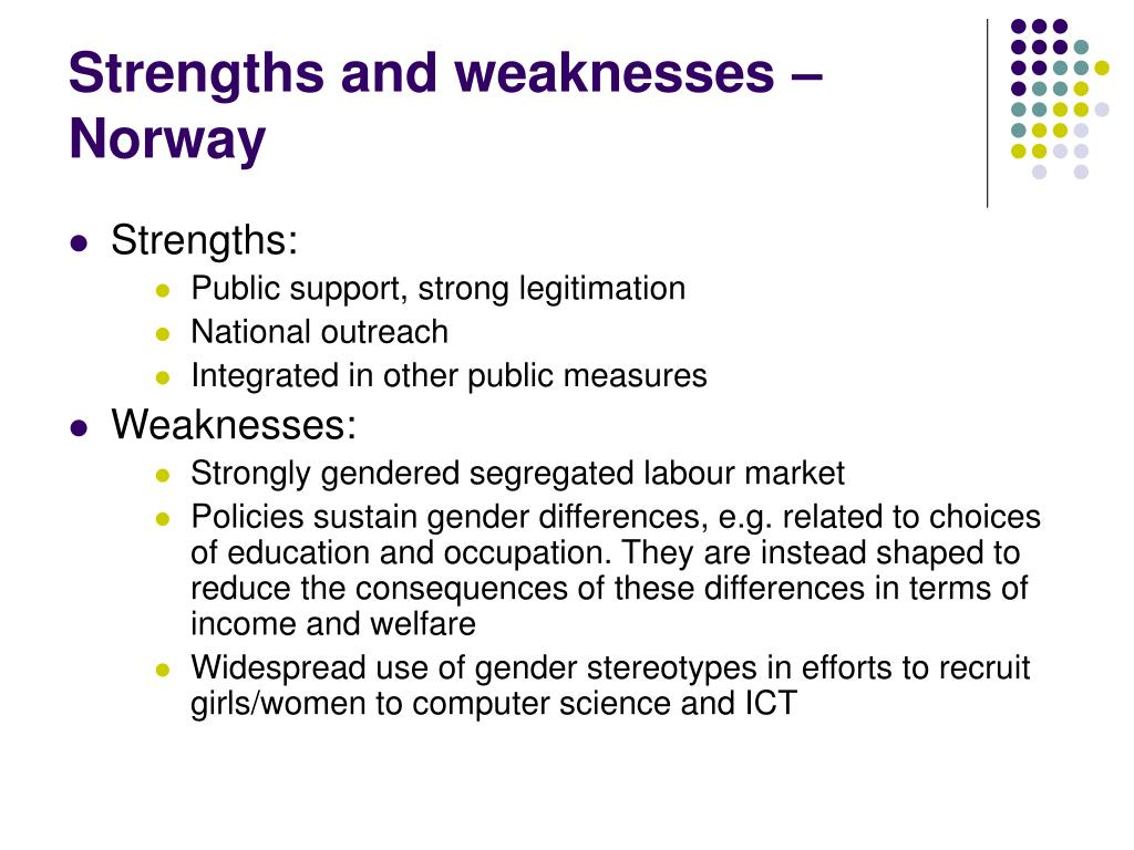 Strengths and weaknesses – Norway