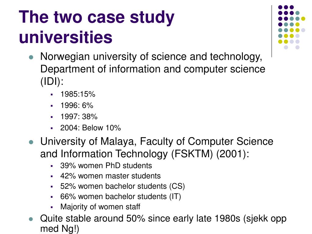The two case study universities
