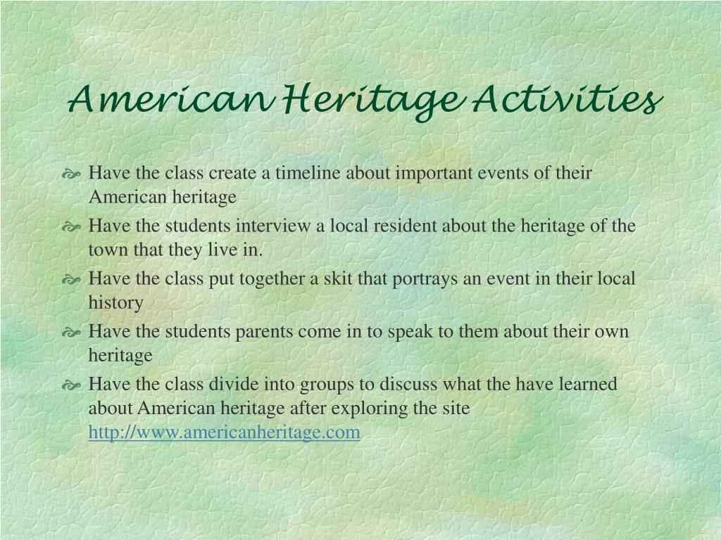 American Heritage Activities