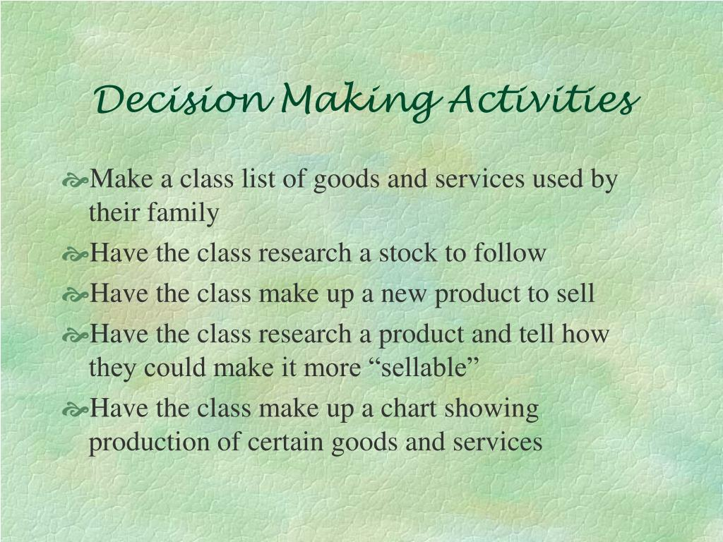 Decision Making Activities