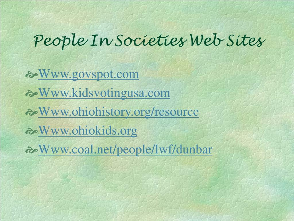 People In Societies Web Sites