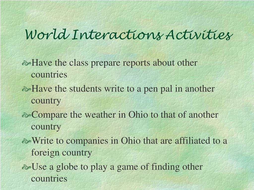 World Interactions Activities