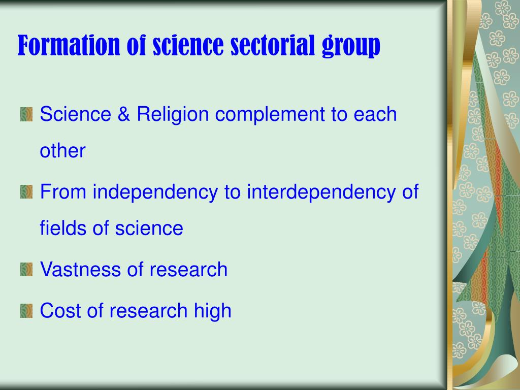 Formation of science sectorial group