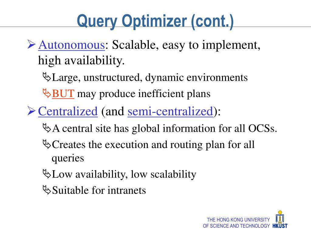 Query Optimizer (cont.)