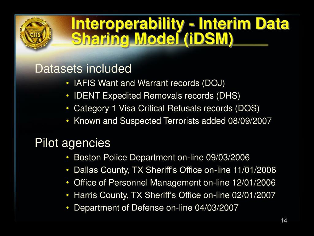 Interoperability - Interim Data