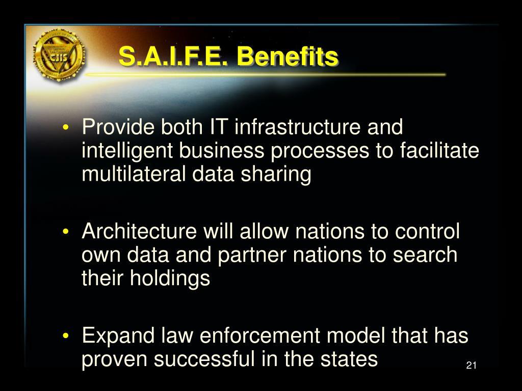 S.A.I.F.E. Benefits