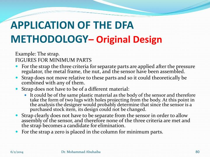 APPLICATION OF THE DFA METHODOLOGY
