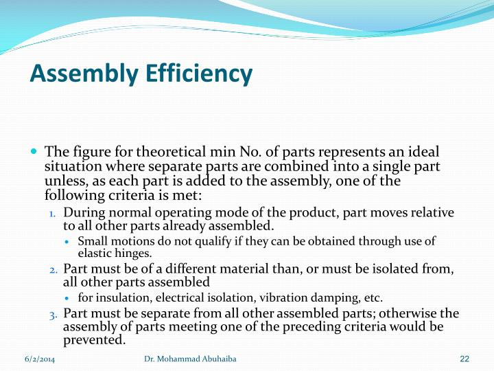 Assembly Efficiency