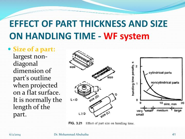 EFFECT OF PART THICKNESS AND SIZE ON HANDLING TIME -