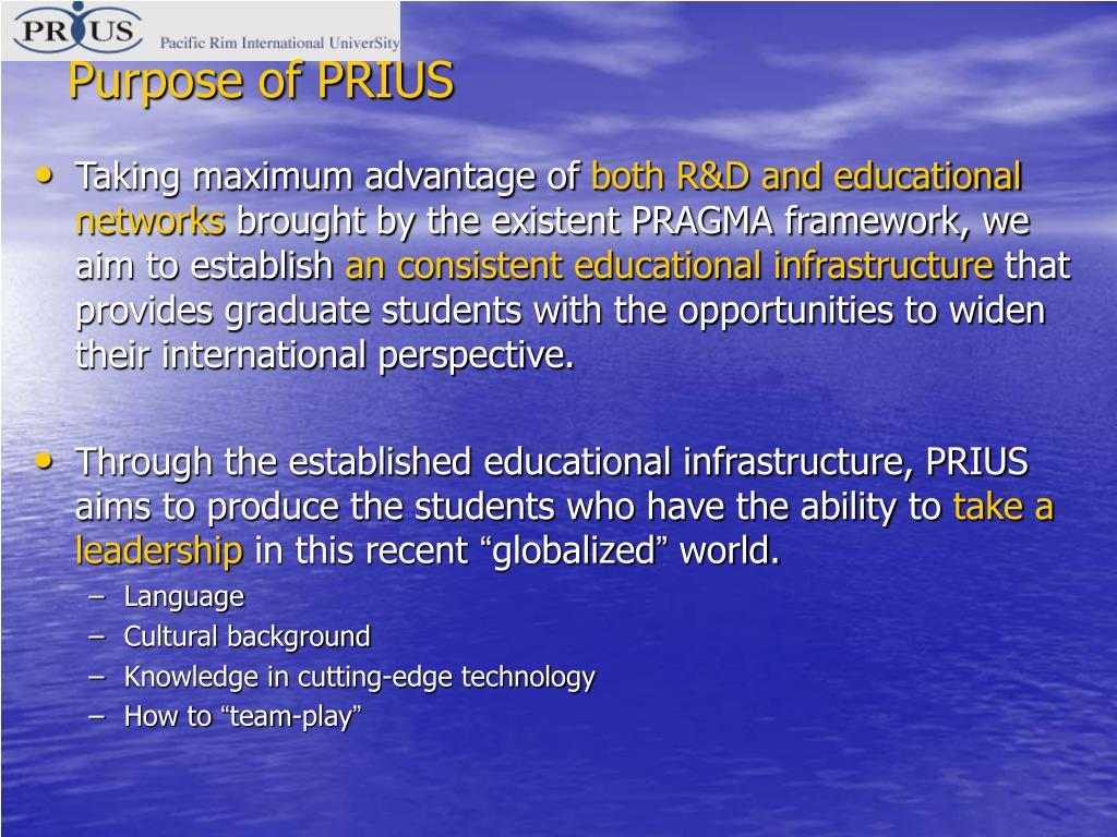 Purpose of PRIUS