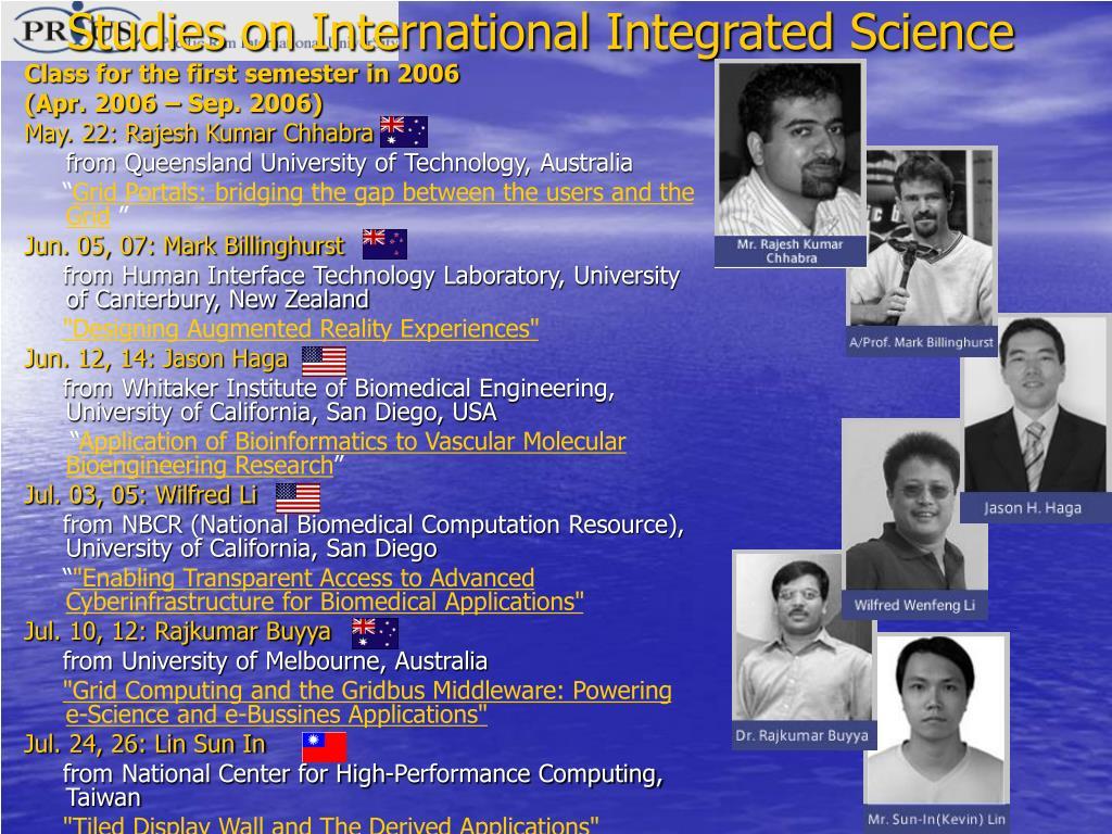 Studies on International Integrated Science