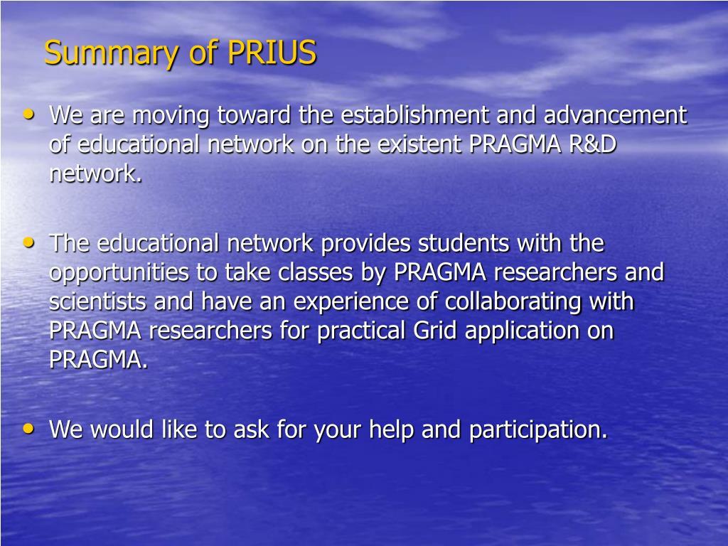 Summary of PRIUS