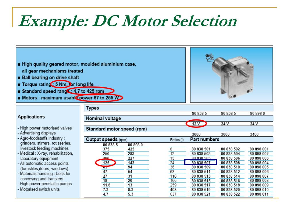 Example: DC Motor Selection
