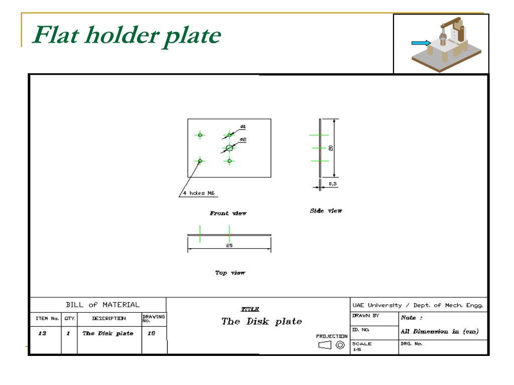 Flat holder plate