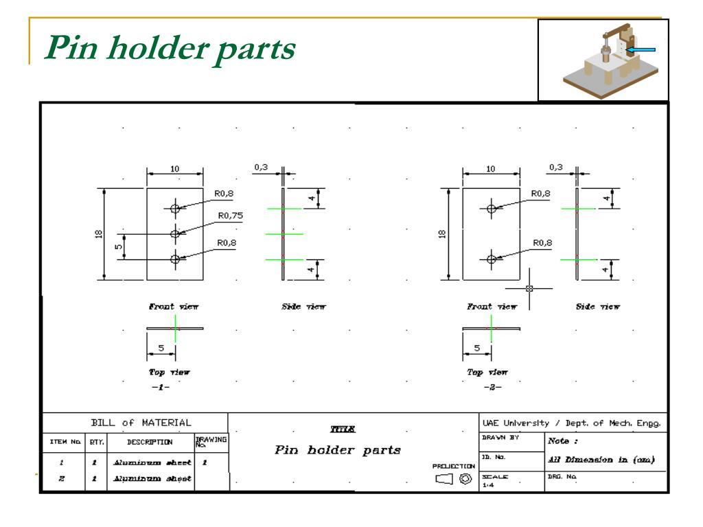 Pin holder parts