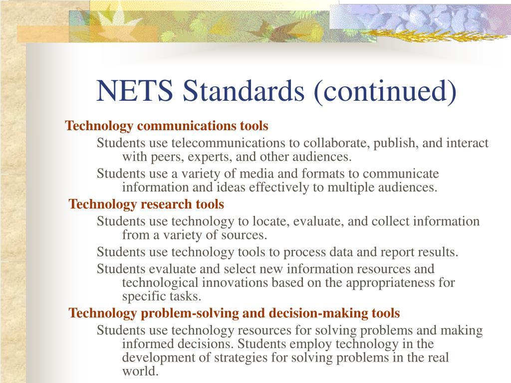 NETS Standards (continued)