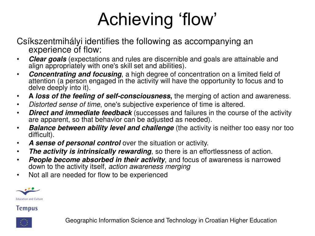 Achieving 'flow'