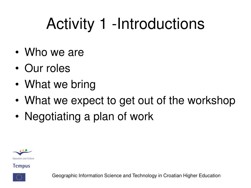 Activity 1 -Introductions