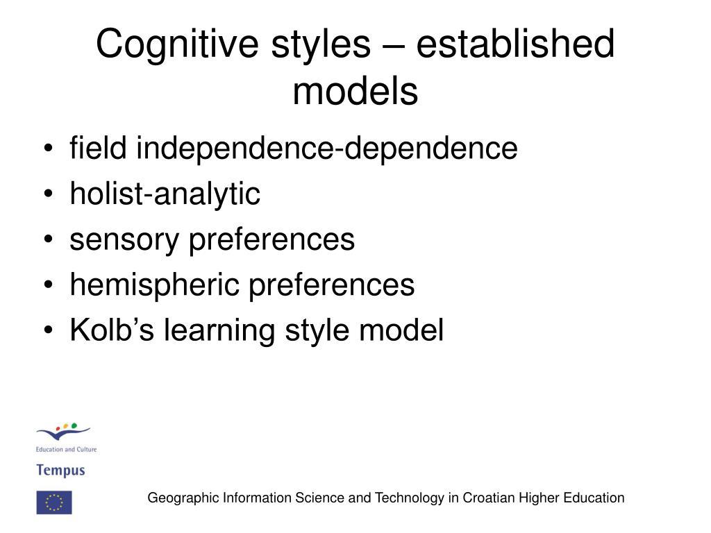 Cognitive styles – established models