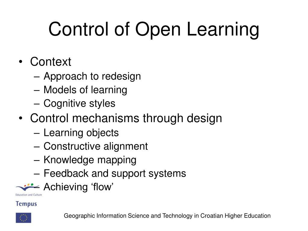 Control of Open Learning