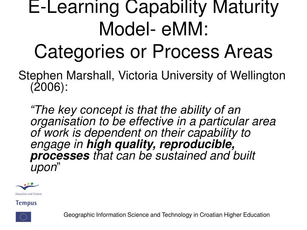 E-Learning Capability Maturity Model- eMM: