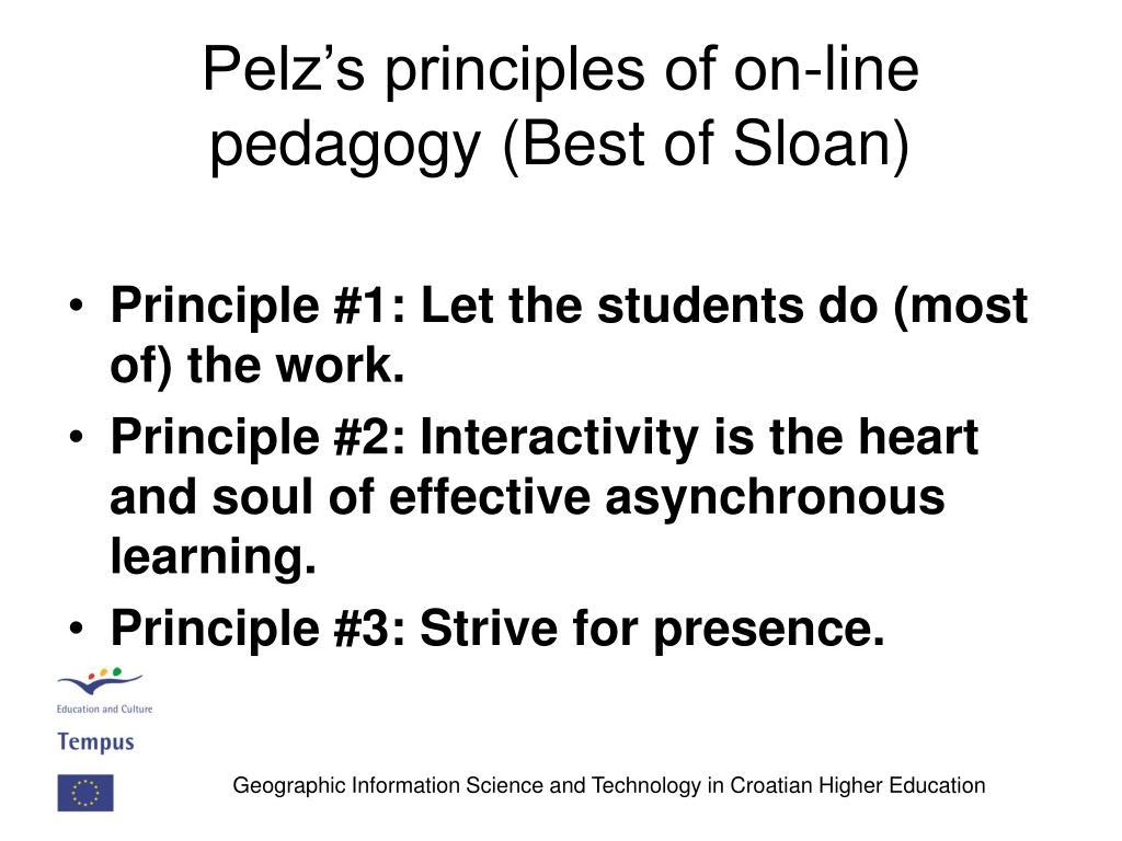 Pelz's principles of on-line pedagogy (Best of Sloan)