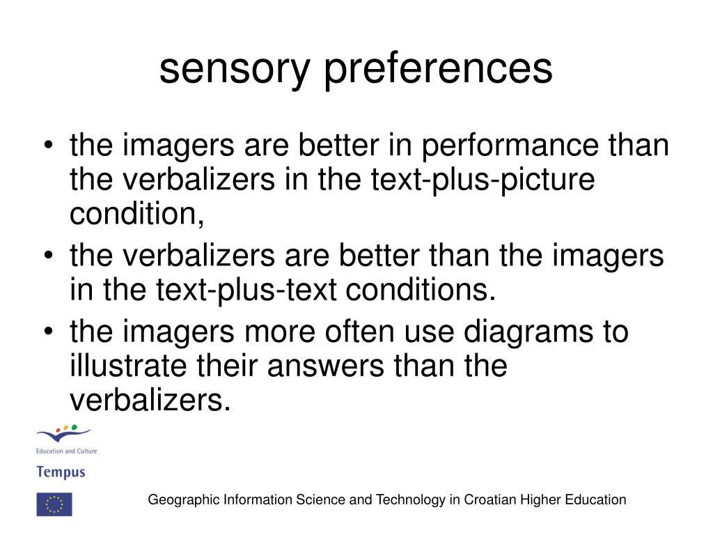 sensory preferences