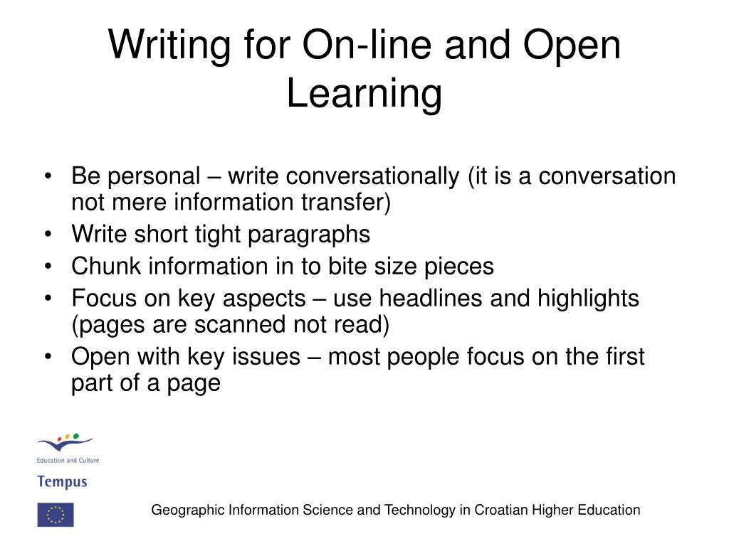Writing for On-line and Open Learning