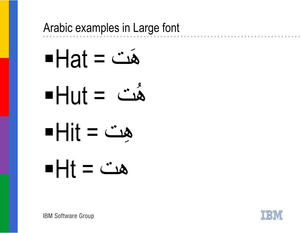 Arabic examples in Large font