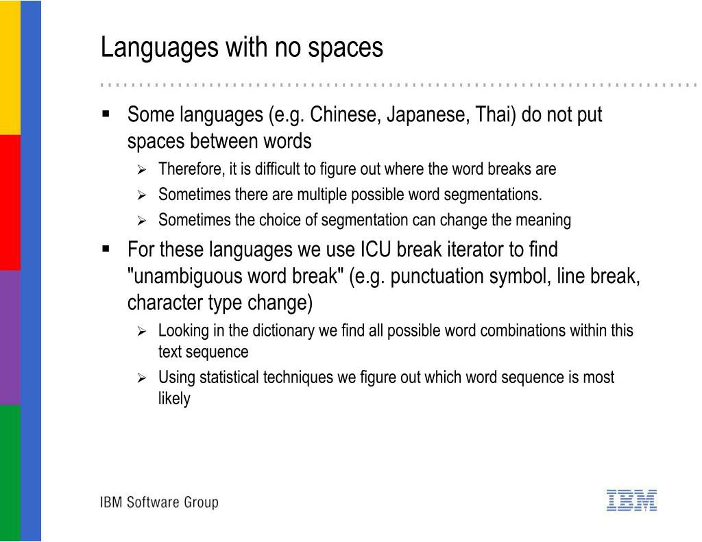 Languages with no spaces