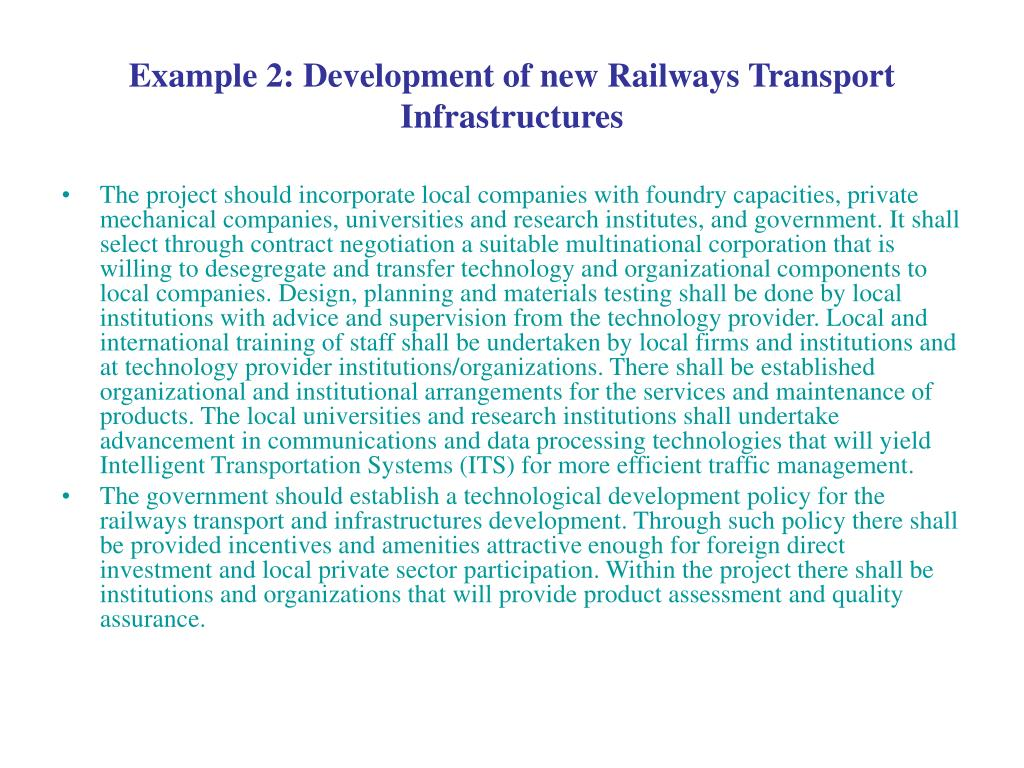 Example 2: Development of new Railways Transport Infrastructures