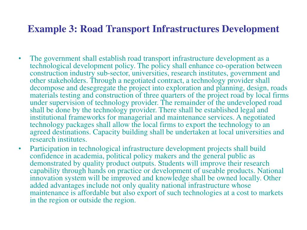 Example 3: Road Transport Infrastructures Development