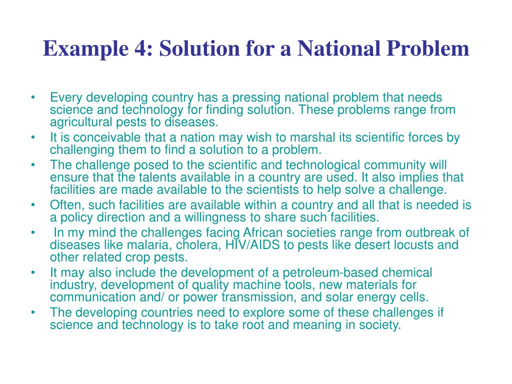 Example 4: Solution for a National Problem