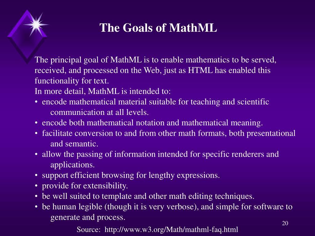 The Goals of MathML