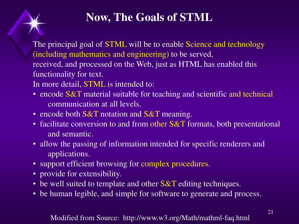 Now, The Goals of STML