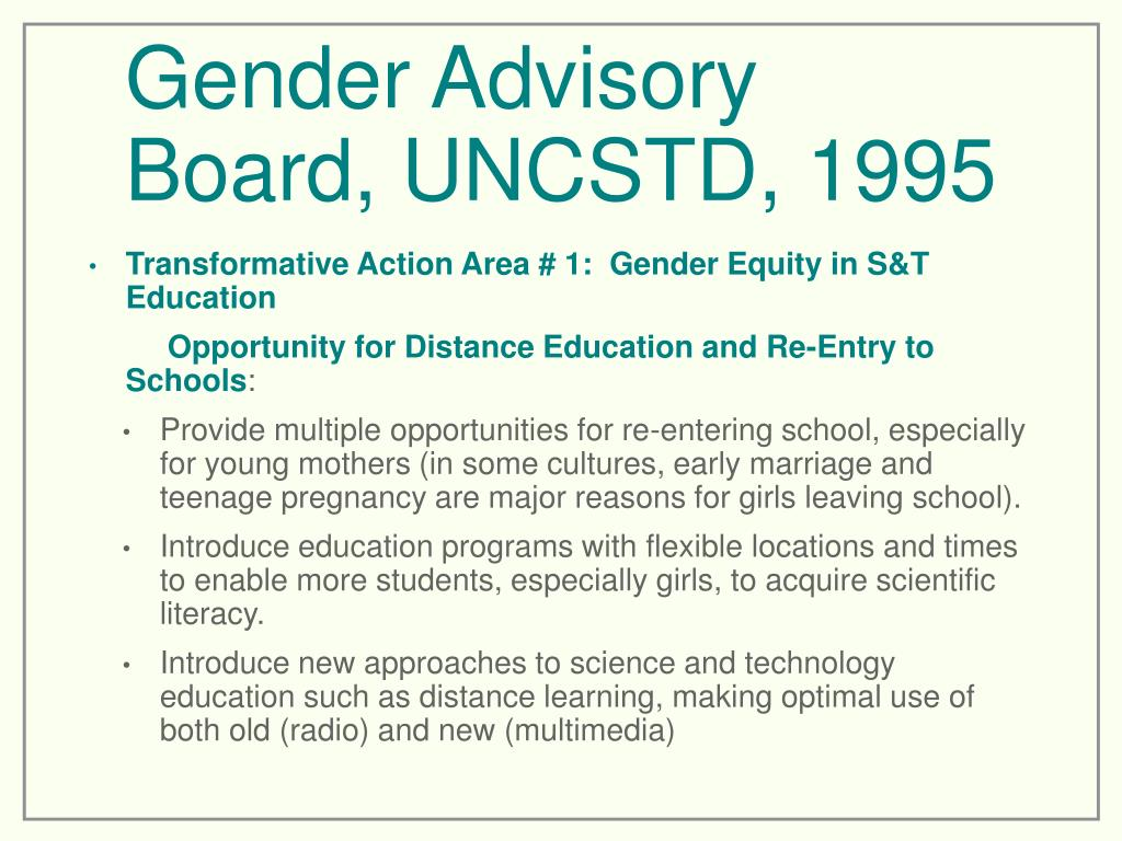 Gender Advisory Board, UNCSTD, 1995