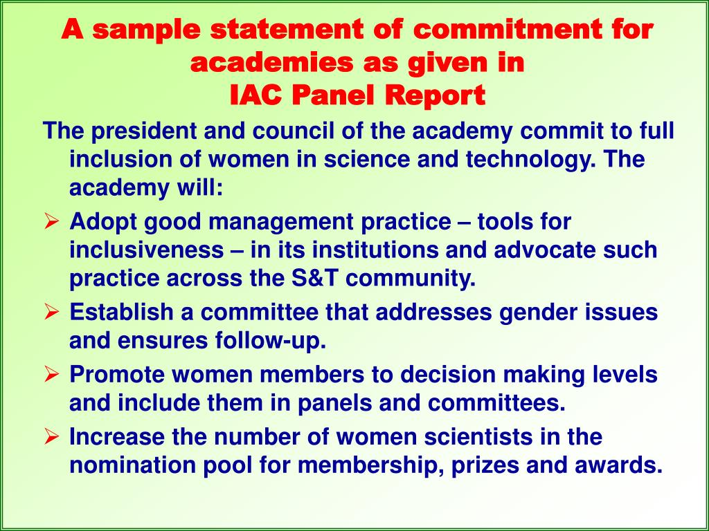 A sample statement of commitment for academies as given in