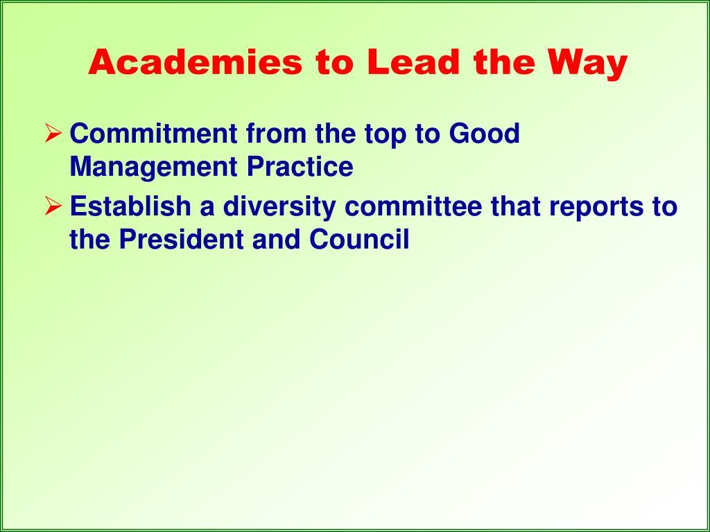 Academies to Lead the Way