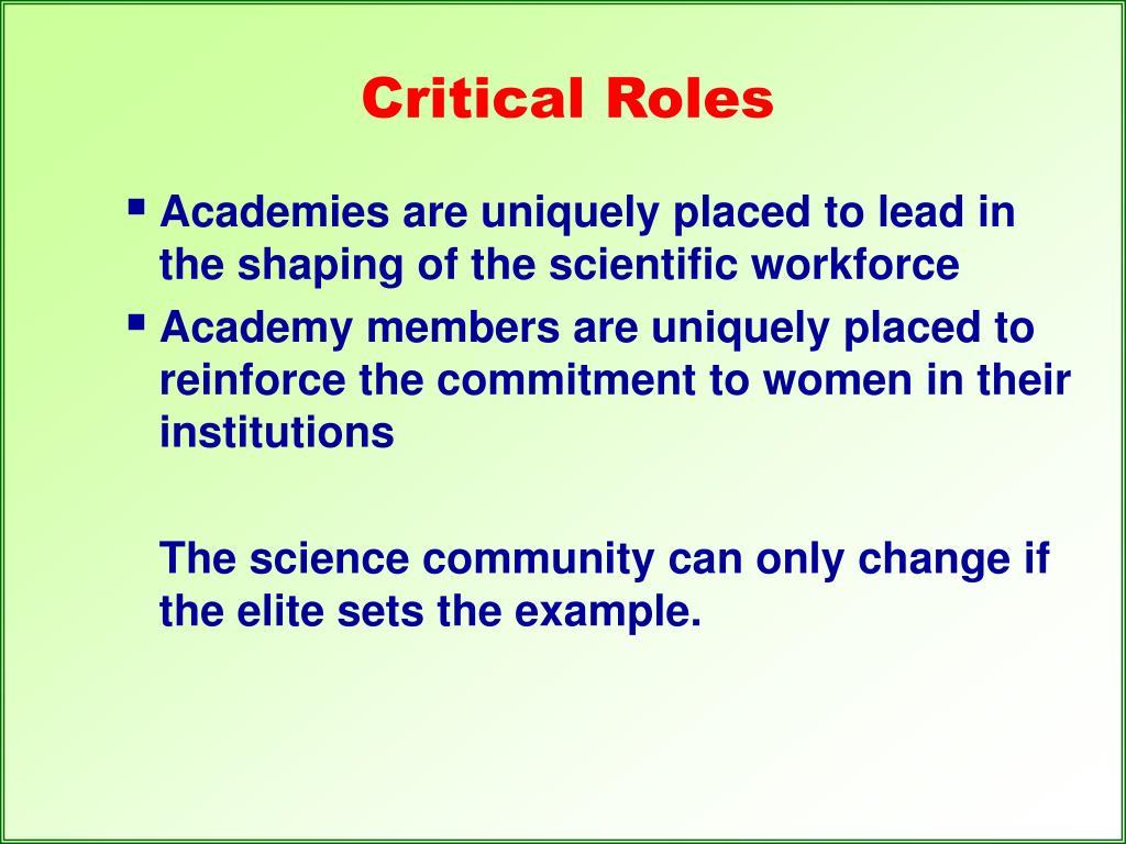 Critical Roles