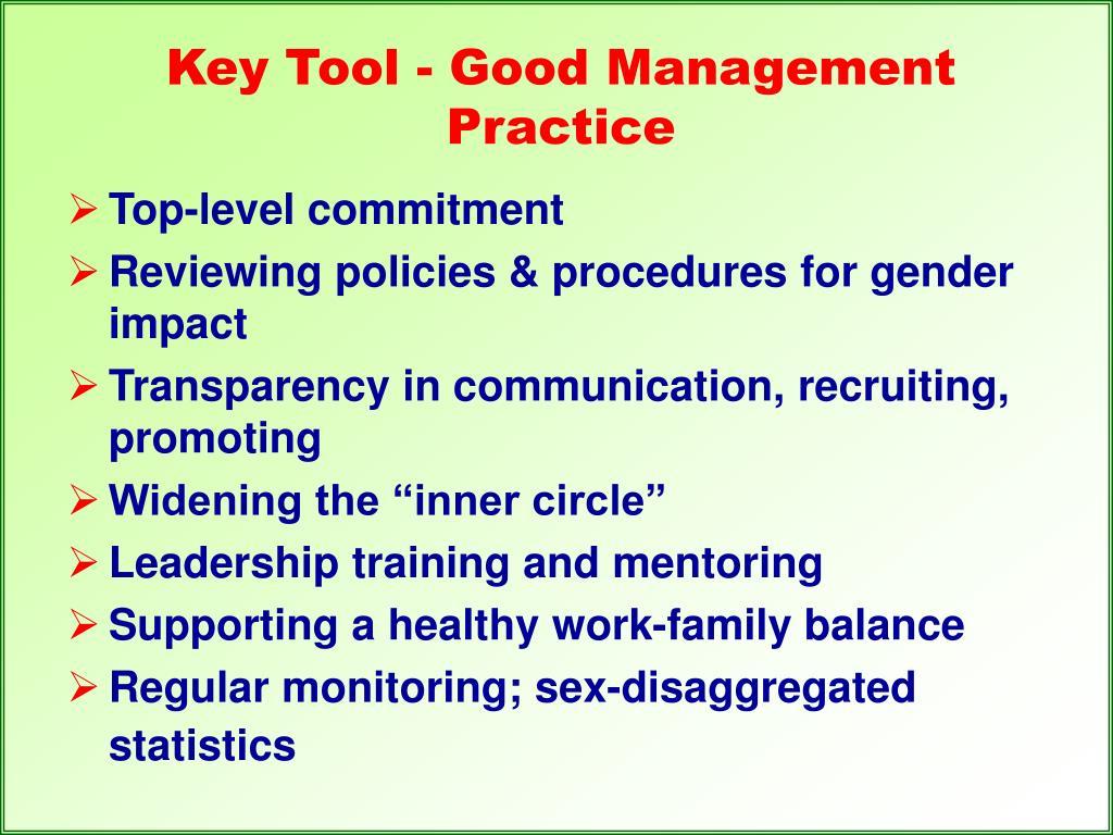 Key Tool - Good Management Practice